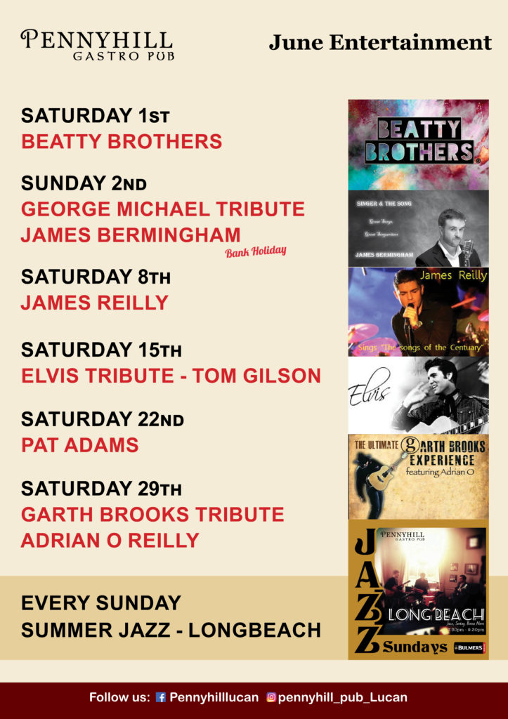 June's Live Music at Pennyhill. Featuring Garth Brooks tribute act, George Michael tribute act.